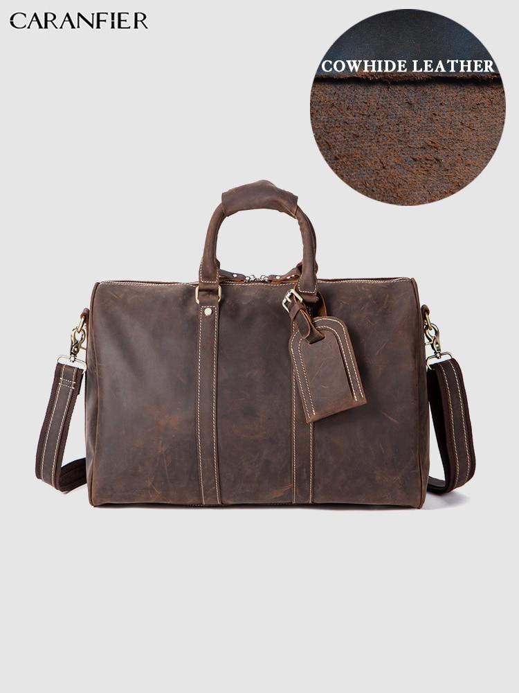 CARANFIER Herren Reisetaschen Crazy Horse Echtem Rindsleder Gepäck Tasche Business Koffer Vintage Schulter Messenger Handtaschen-in Reisetaschen aus Gepäck & Taschen bei  Gruppe 1