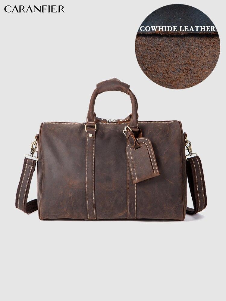 CARANFIER męskie torby podróżne Crazy Horse prawdziwa skóra bydlęca torba na bagaż walizka biznes na ramię w stylu Vintage Messenger torebki w Torby podróżne od Bagaże i torby na  Grupa 1