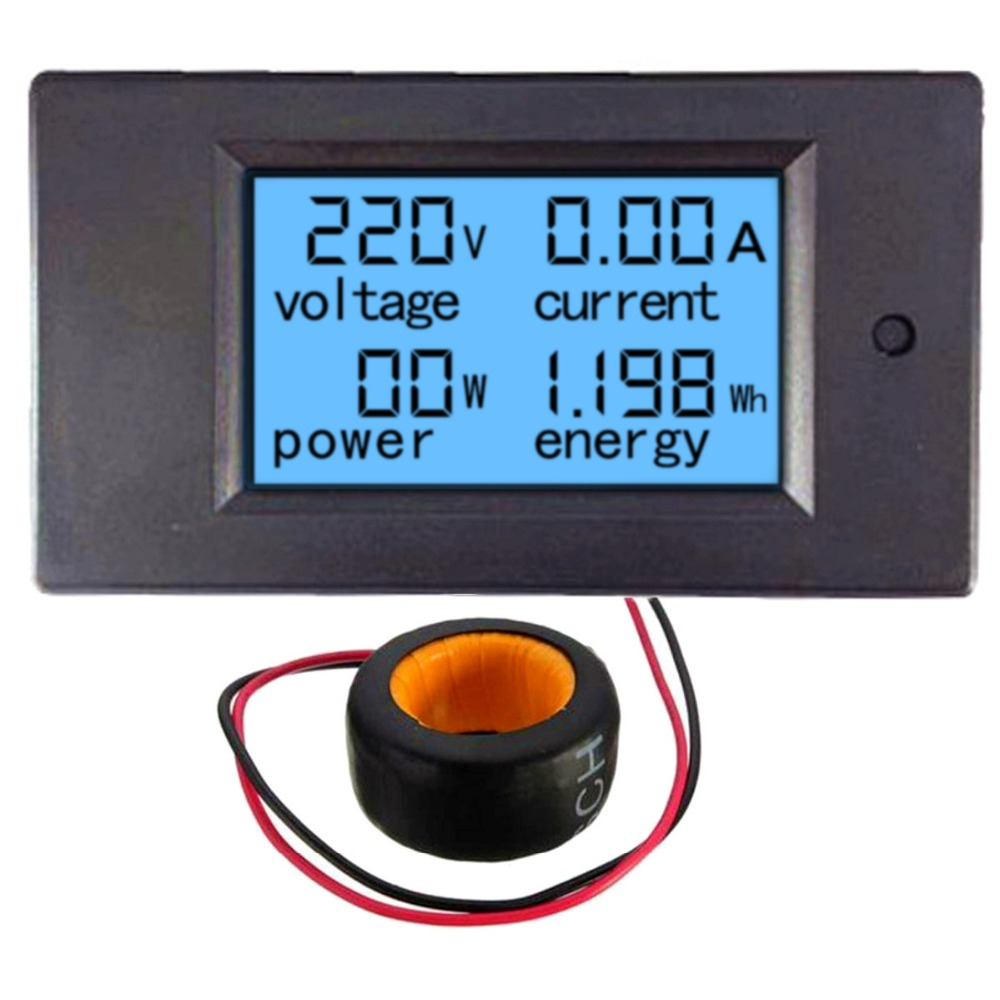 Ac 80v 260v 20a 4 In 1 Digital Lcd Display Current Voltmeter Schematic Diagram Indicating The Power Supply Ammeter And Voltage Meters 100a 80260v Led Panel Meter Monitor Energy