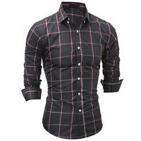 2017 New men brand shirt Hot Sale Camisa Masculina Dress Shirts Long Sleeve Plaid Men Casual Shirts Slim Men chemise homme shirt