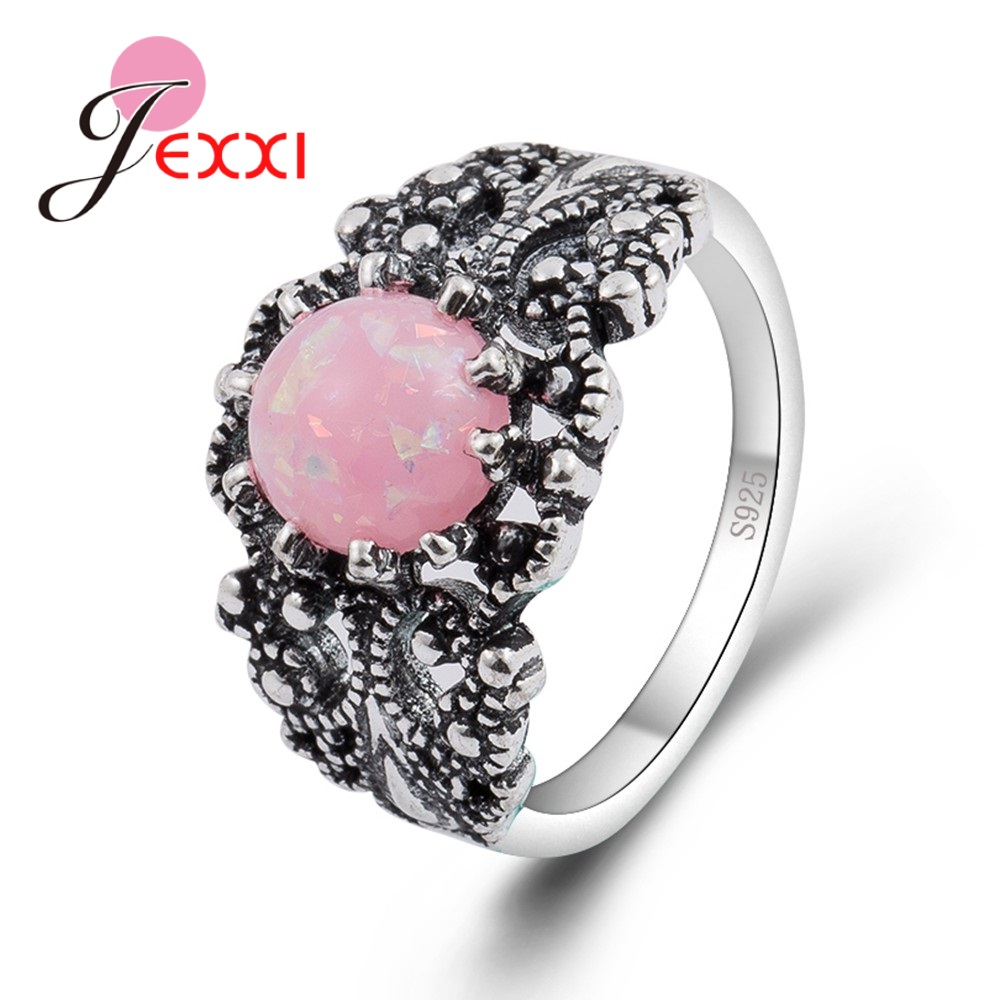 JEXXI Unique Women Pink Fire Opal Stone Ring 925 Sterling Silver Antique Styles Anel Femme Girls Party Wedding Jewelry Hot Sell