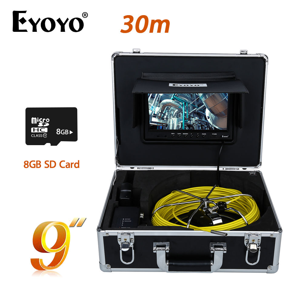 Eyoyo WP90A9 9 LCD 1000 TVL HD 30M/98ft 7mm Waterproof Sewer Pipe Pipeline Camera Drain Inspection Cam With Free 8GB SD Card eyoyo 7 lcd screen 20m 800 480 1000tvl 4500mah sewer drain camera pipe wall inspection endoscope w keyboard dvr recording 8gb