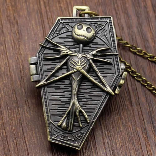 The Nightmare Before Christmas Pocket Watch Jack Skellington Skull Skeleton Quartz Pocket Watch FOB Chain Women Mens Gifts