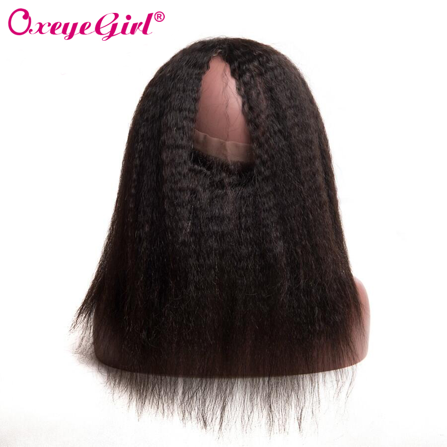 Brazilian Kinky Straight Pre Plucked 360 Lace Frontal Closure With Baby Hair Remy Human Hair Bundles Oxeye Girl Middle/Free Part