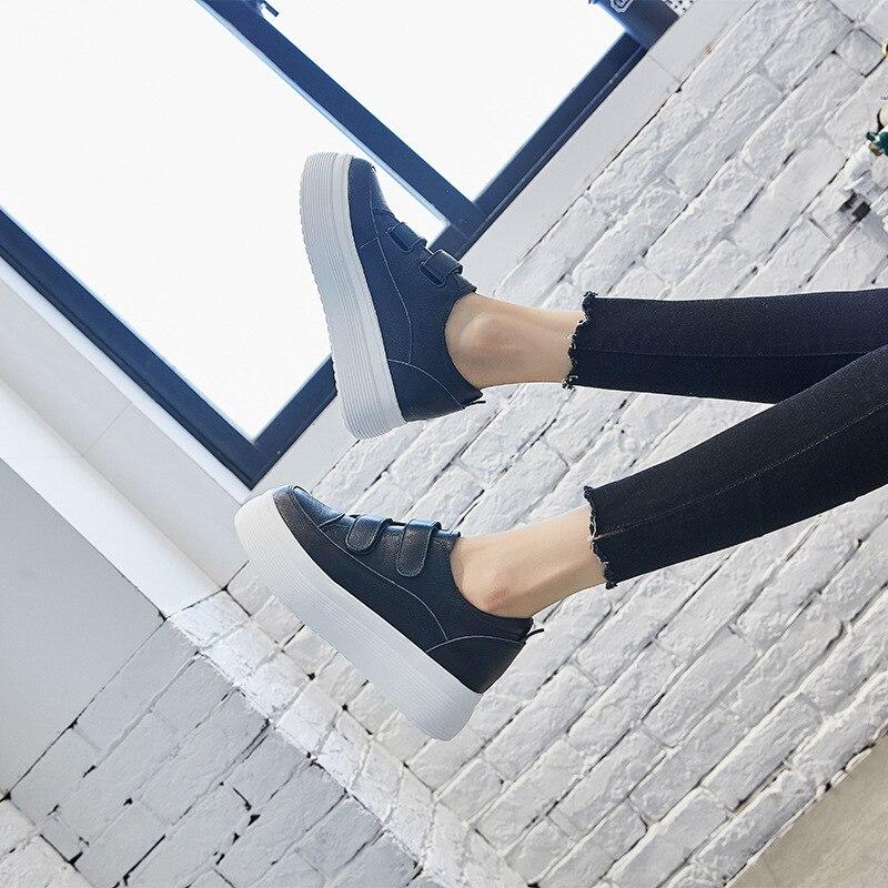 Vache Cuir En Femme 2018 Sneakers Boucle Blanches Pour Chaussures Wedge Swyivy forme Naturel Peau Noir De Baskets Plate Femelle Décontractées Caché Crochet blanc derCxBoW