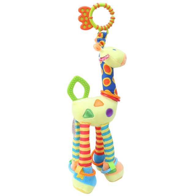 Soft, Cuddly, and Adorable Giraffe Plush Toy with Rattles and Sensory Teether
