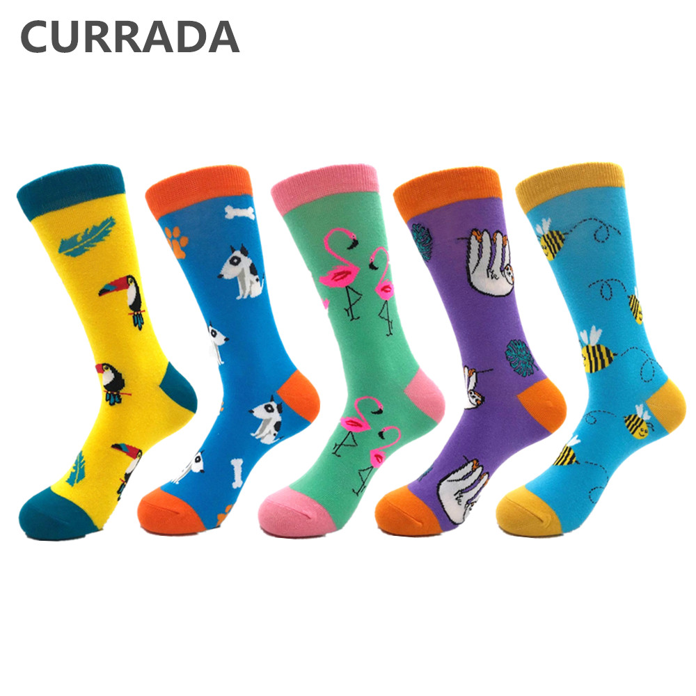 5pairs/lot Casual Mens Happy   Socks   High Quality Combed Cotton Men   Socks   Plant animal Cartoon Design Funny Crew compression   socks