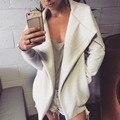 Зимние Пальто Куртки Женщин 2016 Дамы Turn Down Длинным Рукавом Пальто Свободный Свободный Асимметричная Верхняя Одежда Пальто Горячие Продажи