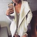 Winter Coats Women Jacket 2016 Ladies Turn Down Neck Long Sleeve Coat Loose Casual Asymmetric Outerwear Overcoat Hot Sale