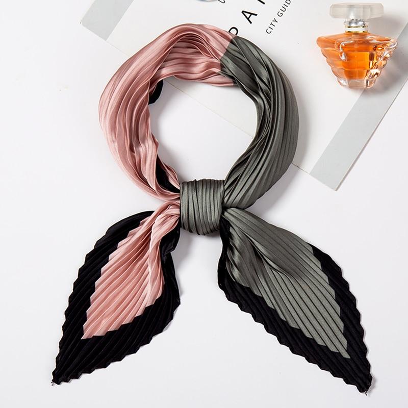 Women Silk Scarf Square Elegant Neck Scarfs Fashion Print Crinkle Scarves For Ladies Hairband Female Foulard Handkerchief