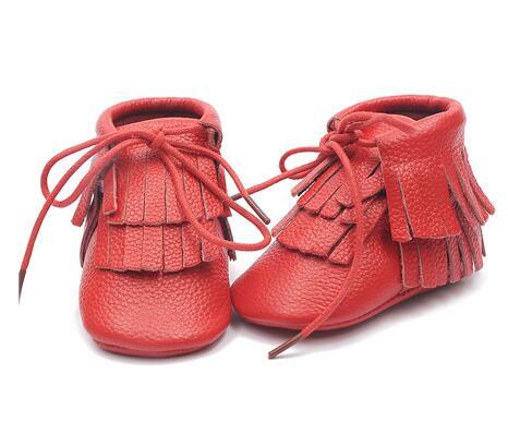 df53962d3ae54 Frange Véritable bébé en cuir bébé mocassins semelle souple prewalker filles  et garçons bottes De Mode infantile berceau chaussures à lacets