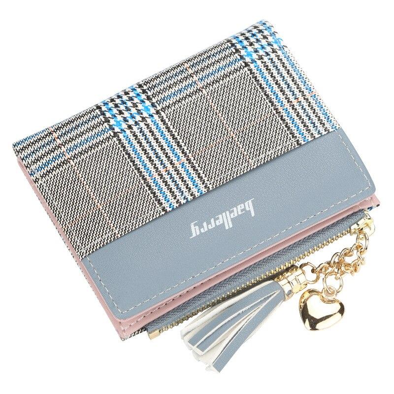 Новые женские кошельки с кисточками милый модный кошелек кожаный короткий кошелек на молнии Держатель для карт мягкие кожаные для телефона женский клатч - Цвет: Blue