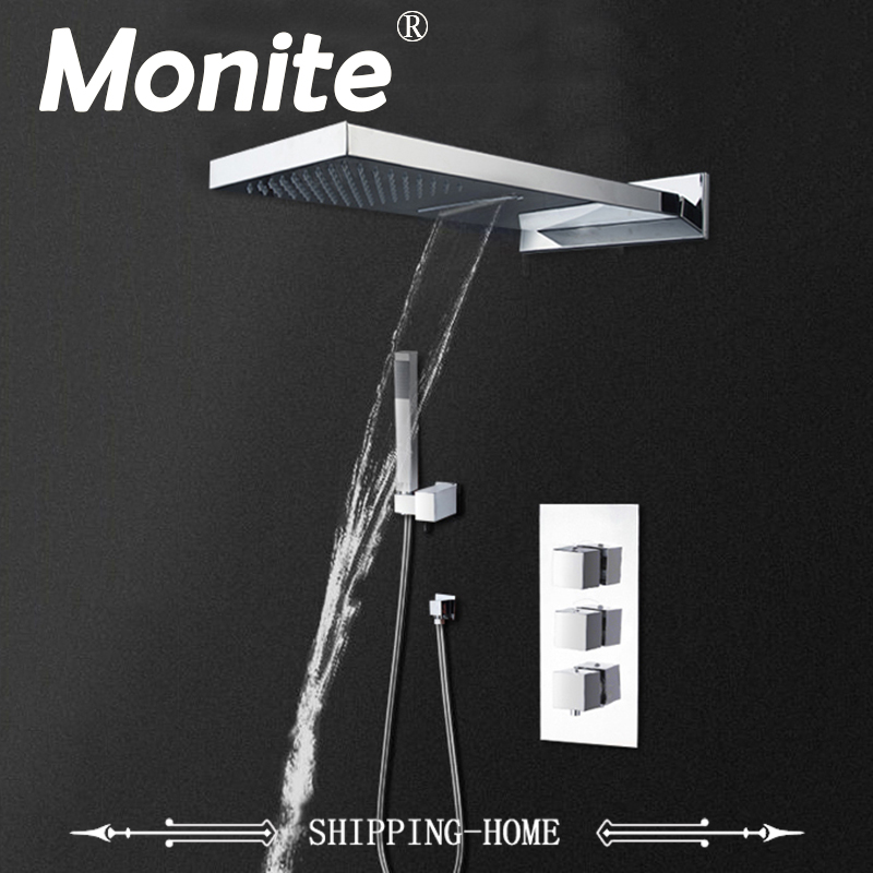 Brass Concealed Two Functions Square Mixer Valve Shower Set with Three Way Water Bathroom Faucet high quality 100% brass chrome finish shower faucet concealed thermostatic shower valve mixer water tap round 3 dial 3 way