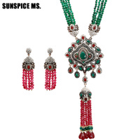 New Natural Stone Turkish Jewelry Sets Red Green Crystal Zircon Antique Bronze Color Exaggeration Bead Necklace Earrings 2018