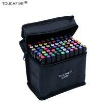 Touchfive 30/40/60/80/168 สีชุดเครื่องหมายแอลกอฮอล์หมึกน้ำมันแปรงคู่ปากกามังงะนักเรียน Sketch drawing MARKER Art Supplies