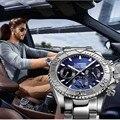 Mode Multi functie Automatische Mechanische Horloge Luxe merk LOREO Diver Horloge 20bar Schroef Crown Lederen Band Klok 2019