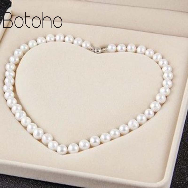 Real Freshwater Natural Pearl Necklace Women's Fine Necklace Jewelry Pearl Silver Plated Necklace Breed Real Pearls for women