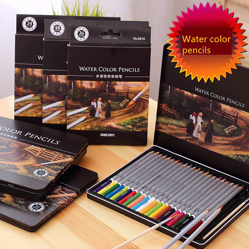 Free shipping deli 6524 72 colors water soluble iron color boxed colored pencil water color pencils стоимость