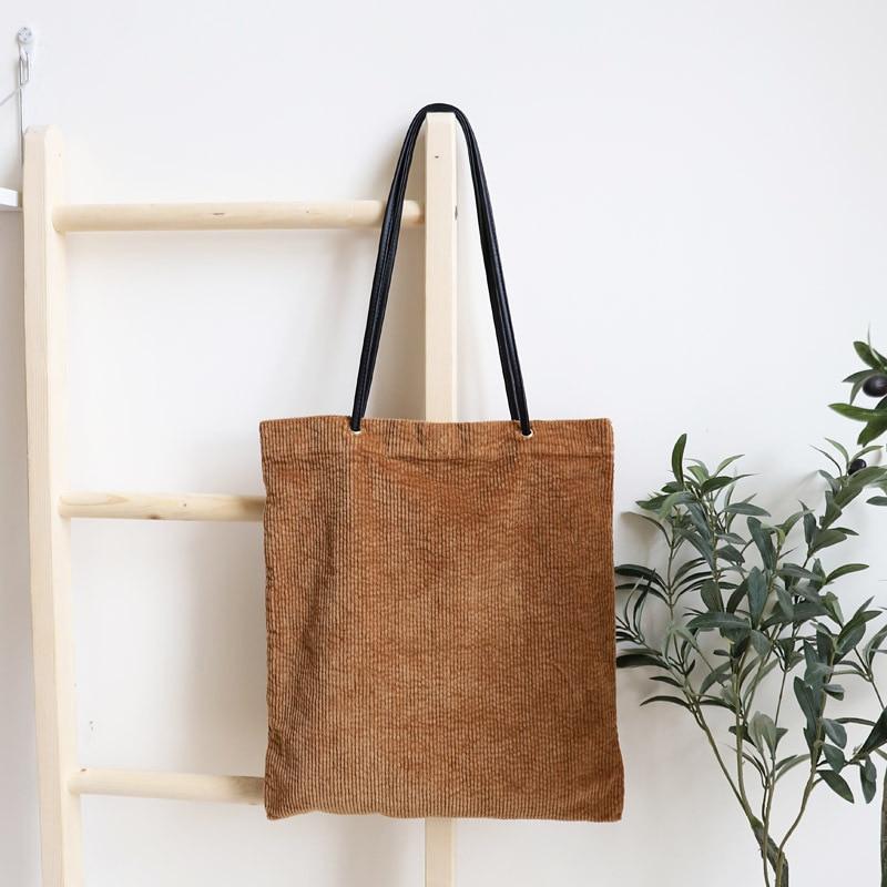 Casual Corduroy Tote Handbag Fashion Women Korean Style Fabric Shopping  Shopper Black Handle Bag Purse Hand Bag for Teenager 539a7db63f0ad