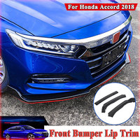 1 Set Car front bumper Lip Cover Trim Carbon Fiber Protection Cover Kits for Honda Accord 2018 ABS Matte Black Car Accessories