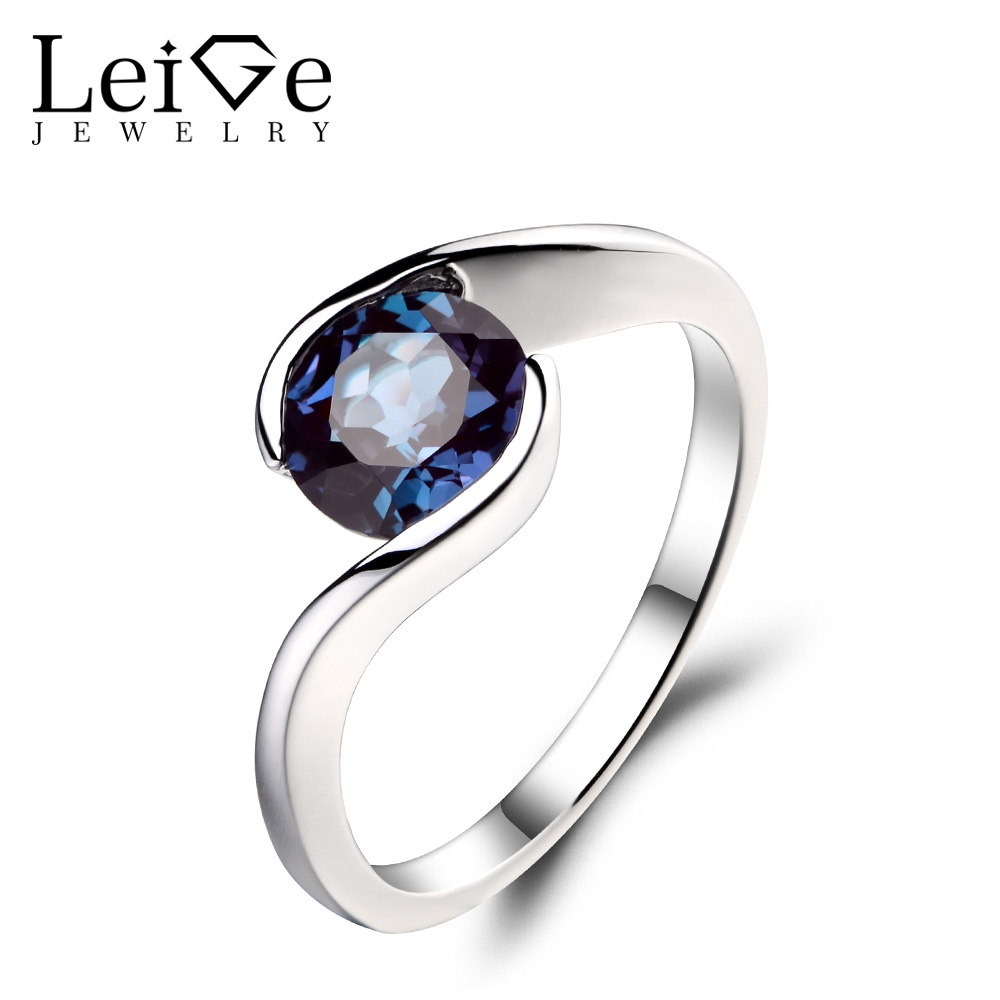 Leige Jewelry 1 84ct Alexandrite Solid 925 Sterling Silver Ring Purple Gemstone Birthstone Round Cut Engagement