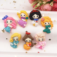 Hand Painted Resin Mix Kawaii Colorful Girl Flatback Cabochon Stone 7PCS Scrapbook DIY Decor Home Figurine Crafts(China)
