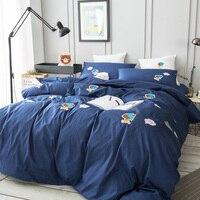 Adorable Blue Cartoon Fashion Anime Bedding Four Sets Sheet Pillowcase & Duvet Cover Luxury Set 3d Embroidery Bed D 81