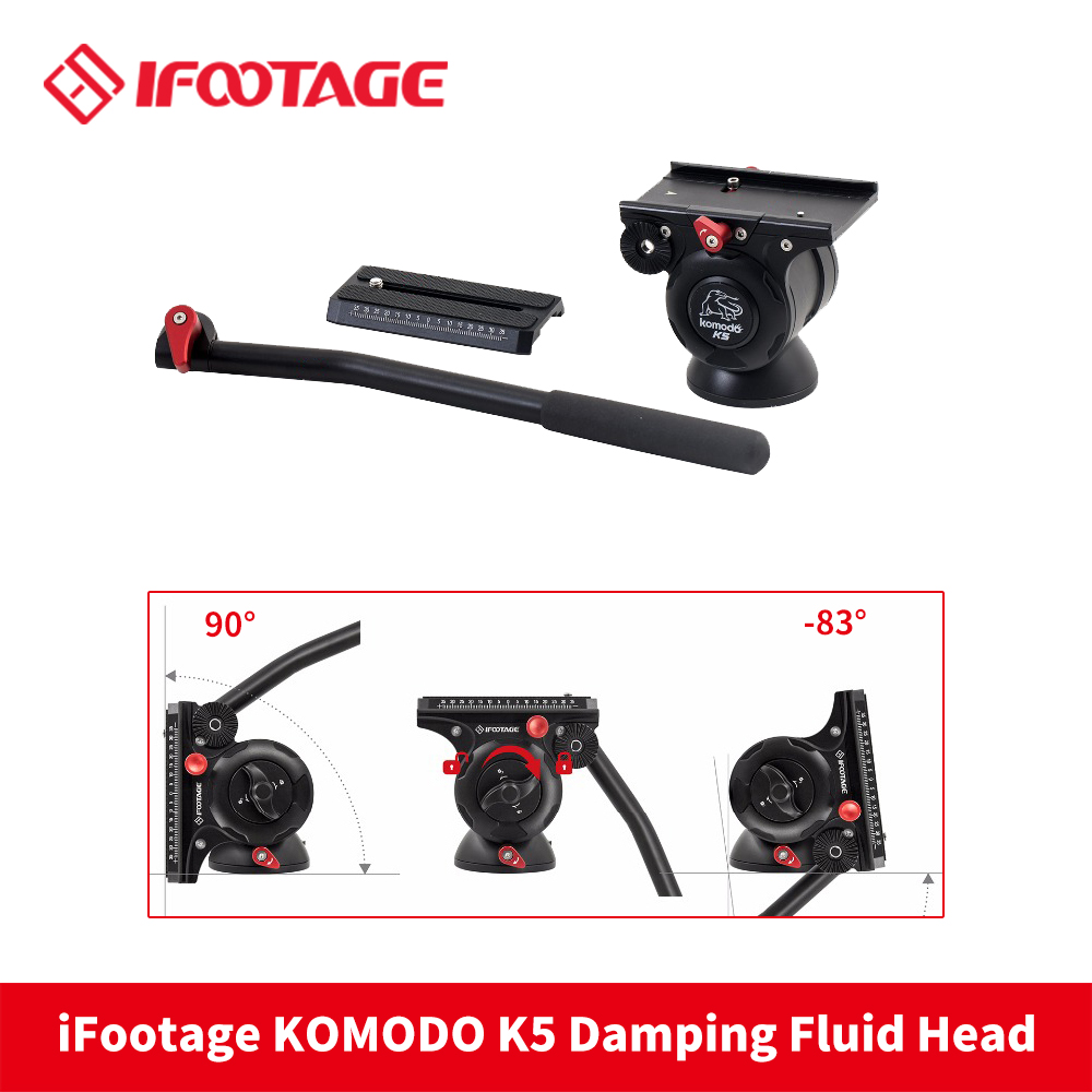 iFootage KOMODO K5 Video Fluid Head Lightweight Hydraulic Damping for DSLR Camera Tripod Monopod aluminium alloy professional camera tripod flexible dslr video monopod for photography with head suitable for 65mm bowl size