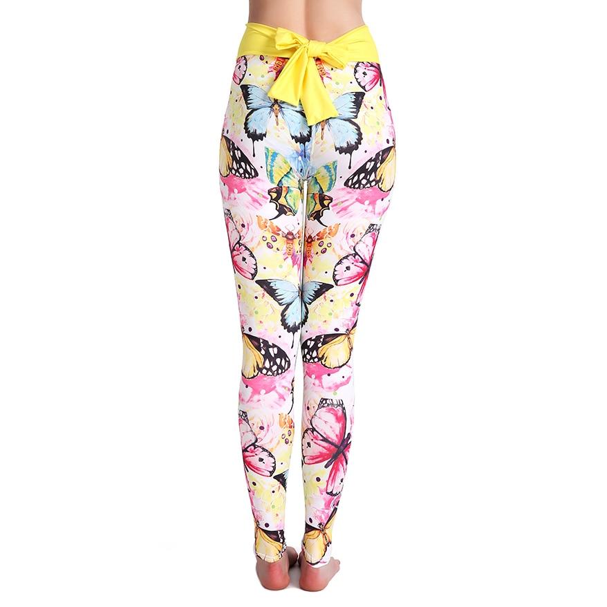 @1  Женщины Лук Украшенные Штаны для Йоги Симпатичные Panda Cat Бабочка Печати Эластичные Бег Спортивные ✔