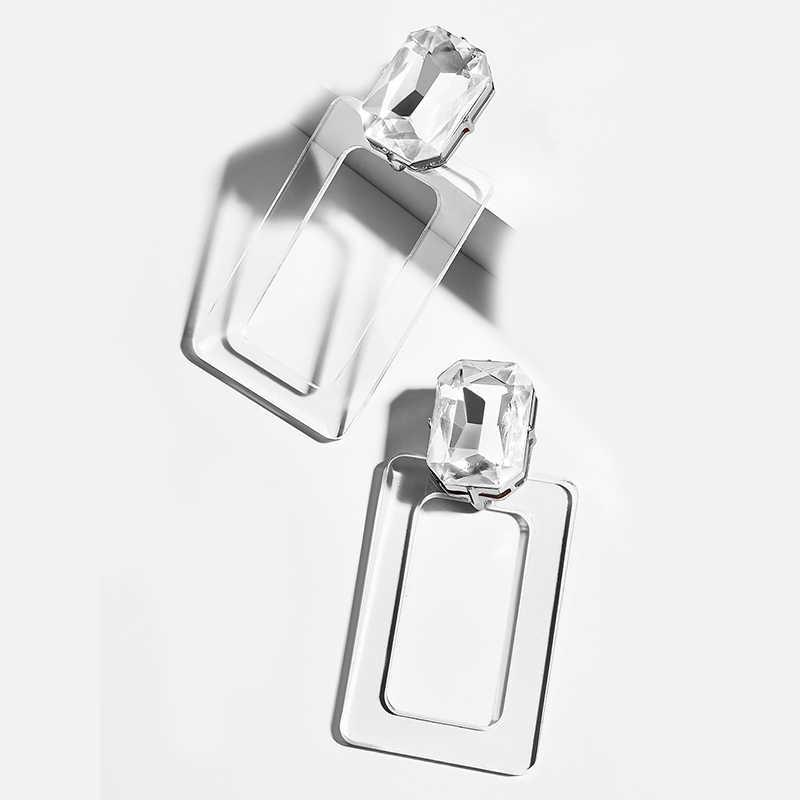 2019 za New Statement Transparent Acrylic Acetic Acid Drop Earrings for Women Girl Personality Simple Geometric Pendant Earrings