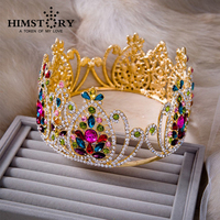 Extra Large Luxurious European Vintage Royal Colorful Crystal Quinceanera Brial Crown Tiara Wedding Party Hair Accessory