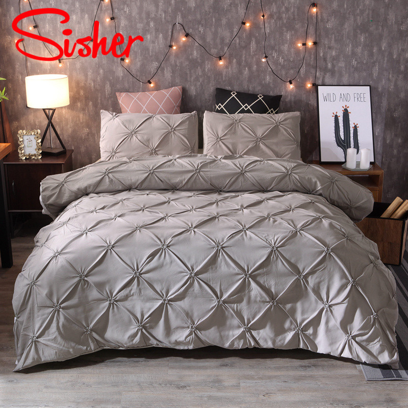Sisher Luxury Classic Black White Duvet Covers Pinch Sets Pleat Bedding Set Single Queen King Size Polyester Cotton No Bed Sheet