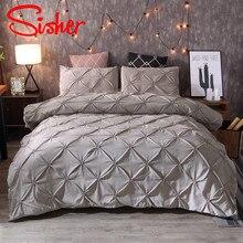 Sisher, fundas de edredón clásicas de lujo en blanco y negro, juegos de pellizco, juego de cama con pliegues, tamaño King individual, algodón de poliéster sin sábana