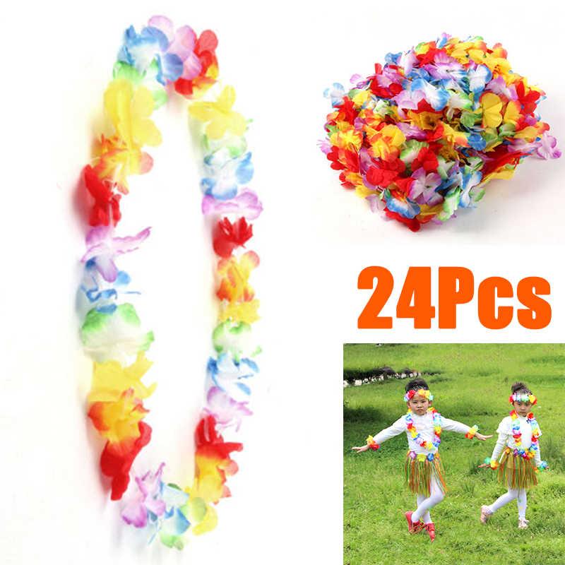 Тропический цветок гирлянды пляжные 24 шт Гавайские вечерние украшение на шею декоры Свадебные Необычные костюмы полезные прочные