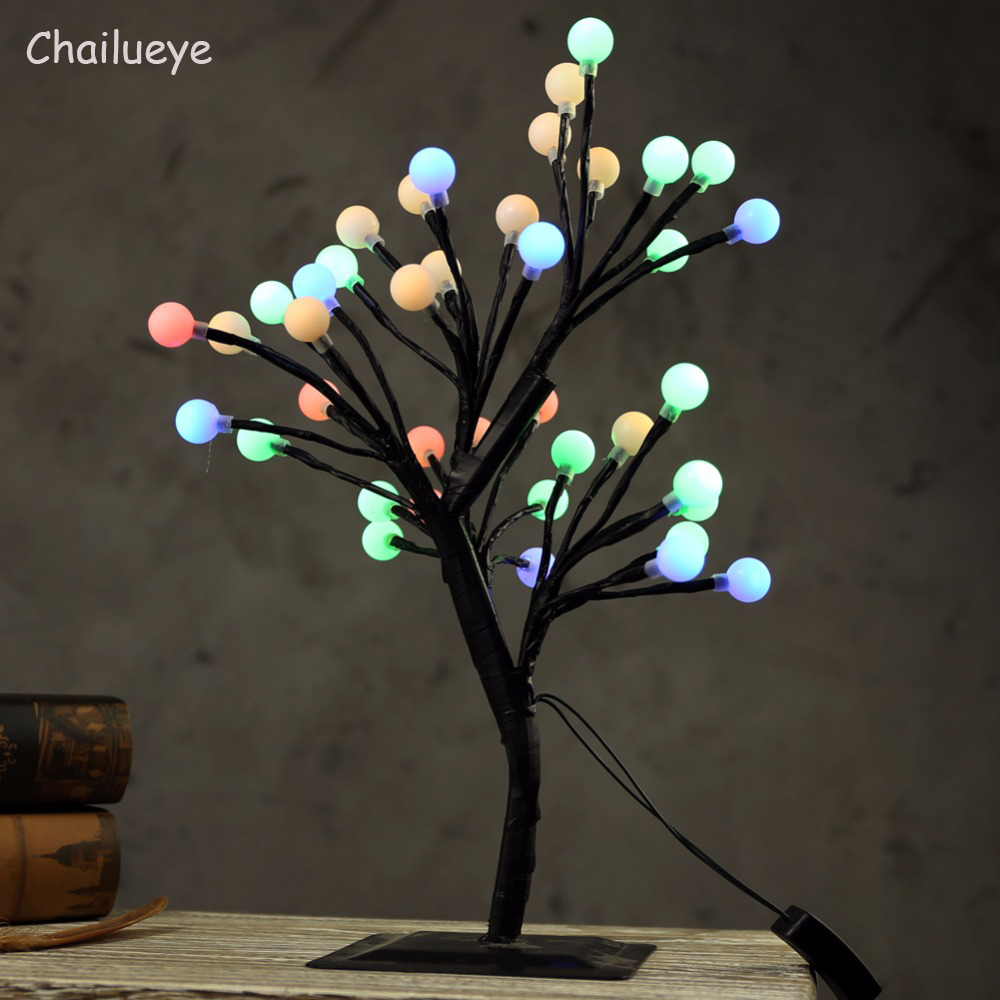 Luminarias LED Cherry Ball Tree Branch Light Holiday Lighting Table Lamps Night lights Kids Bedroom Wedding Indoor Home Decor