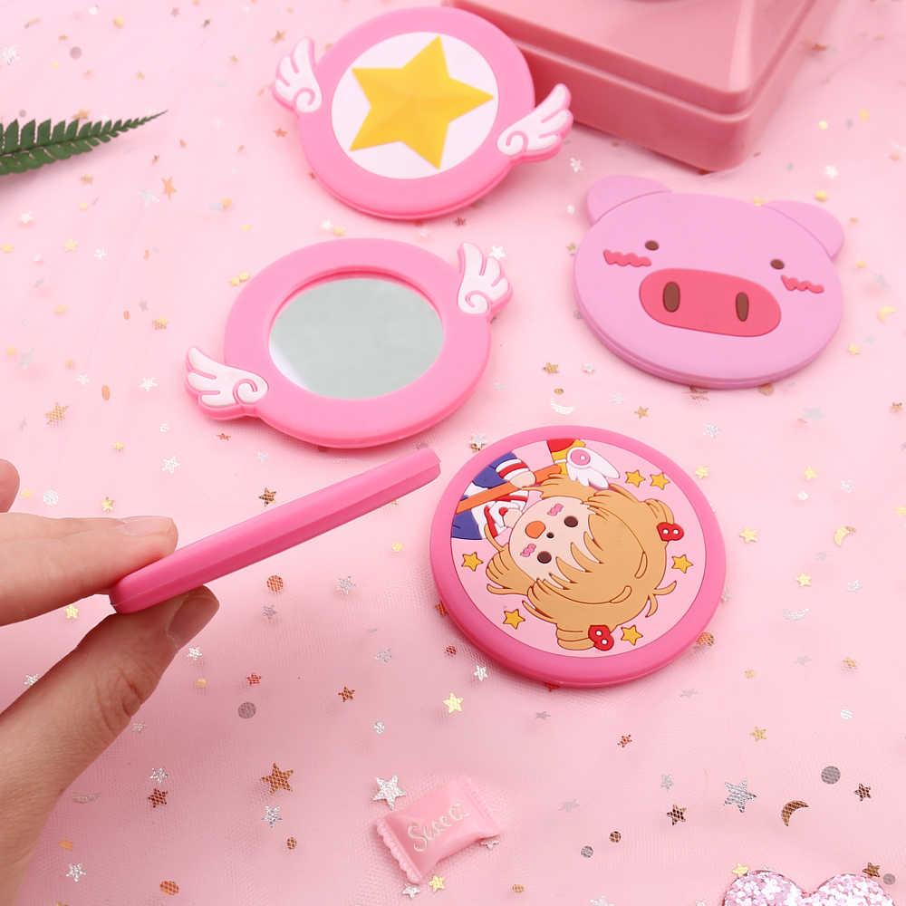 Lucu Cardcaptor Sakura Tongkat Sihir Kebulatan Makeup Cermin Pink Kawai Mini Saku Cermin Hadiah Kreatif Anime Mainan Tangan Cermin