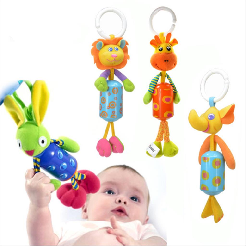 Kids Baby Hand Bell Wrist Rattles Windbell Animal Shape Bed/Car Hanging Bells Educational Infant Toys Plush Doll