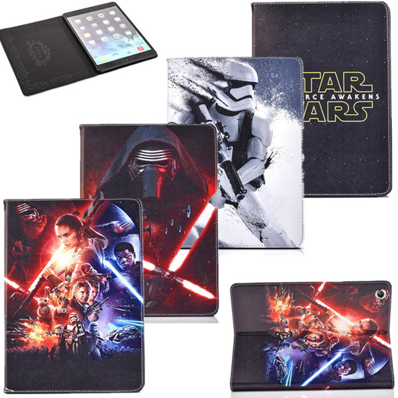 luxury fashion case for iPad mini 4 PU Leather Stand Silicone Cover Star Wars Children Case +Protective film