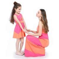 Family Matching Outfits Summer Slim Casual Long Dress Women Gown 2019 New Daughter Mom Long Dress Matching Family Clothing