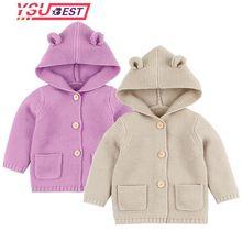 2019 Baby Sweaters Boy Girl Cardigan Newborn Boys Cartoon Bear Ear Hooded