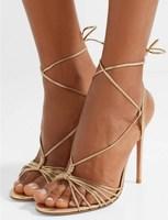 Fashion Women Gold Cross Strappy Strip Sandals Design Stiletto Heels Shoes Women Buckle Heels T Strap Lace Up Gladiator Sandals