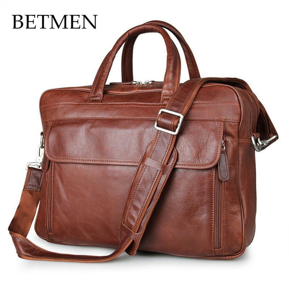 BETMEN Vintage Luxury Brand Men Bag Genuine Leather Handbags Shoulder Messenger Bag Men Briefcase Laptop