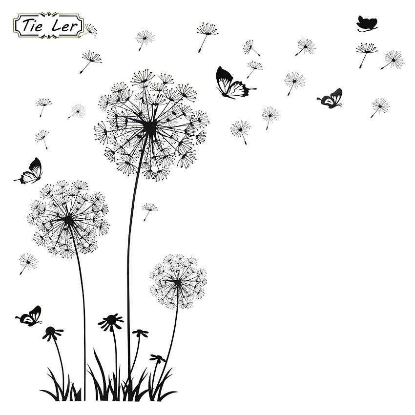 1 PCS Butterfly Flying in Dandelion Bedroom Living Room Decoration Stickers PVC Wall Stickers Home Decor Backdrop
