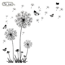 1 PCS Butterfly Flying in Dandelion Bedroom Living Room Decoration Stickers PVC Wall Home Decor Backdrop Mura
