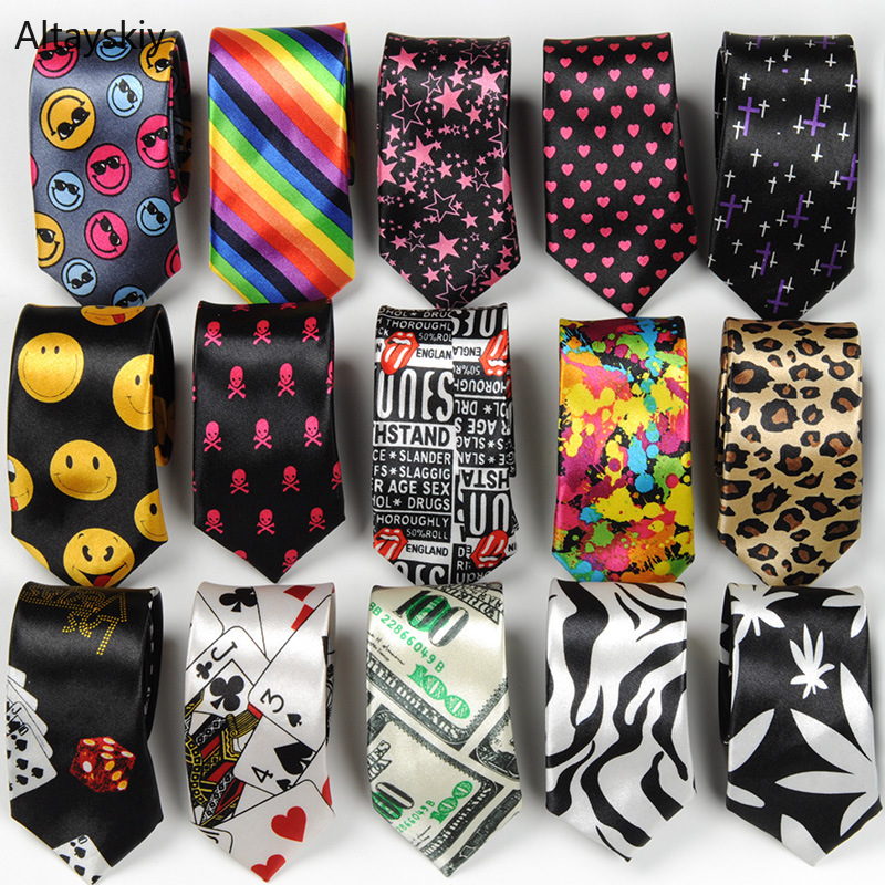 Ties Women Cartoon Printing Leopard Crowns Smile Stars Leaves Hearts Womens Neck Tie Trendy Korean Style All-match Chic Leisure