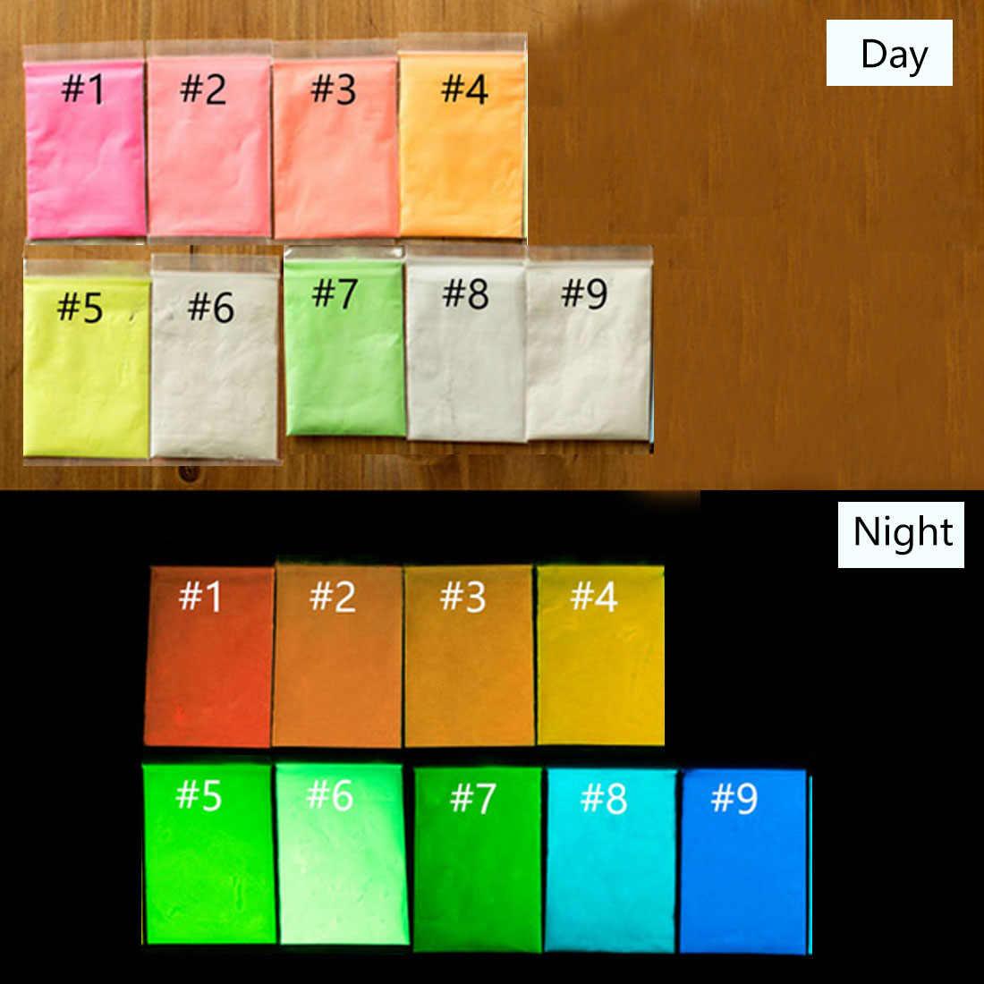 10 กรัม/ถุงเคลือบ Bady Art Glitter Phosphor Luminous ภาพวาดแป้ง DIY Fluorescence DUST GLOW in Dark Body Paint Pigment