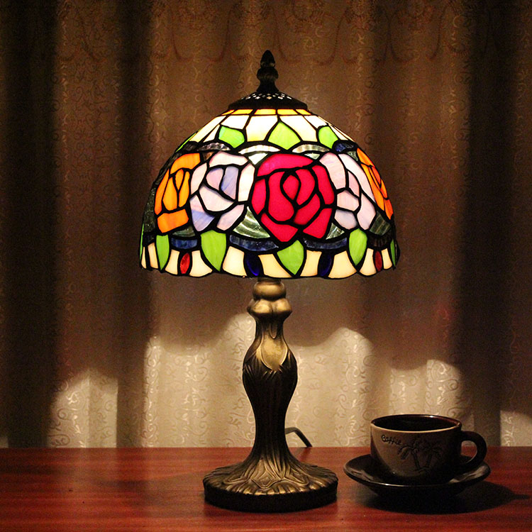 Tiffany European Creative Table Lights Countryside Rose Bedroom Bedside Living Room Cafe Bar Hotel Wedding Table Lamps tiffany european creative table lights countryside bedroom bedside study room living room cafe bar hotel wedding table lamps