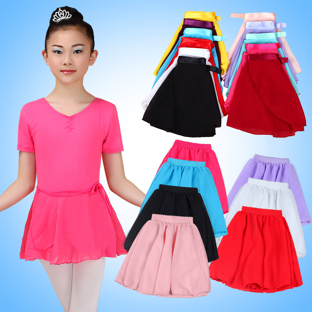 2Pcs Ribbon Waist Chiffon Dance Skirt Kids Practice Dancing Ballerina Wrap Skirt Tulle Costume Dancewear Girls Ballet Clothes
