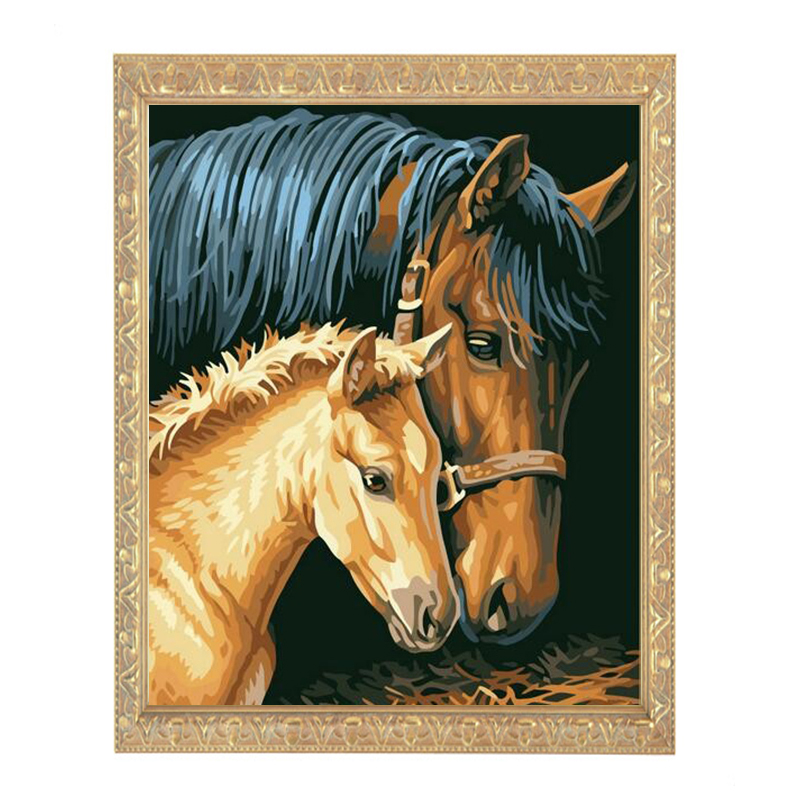 Needlework DIY DMC 14CT Unprinted Cross stitch Counted Embroidery Cross stitch Kit The horse mother ans son home made  Pattern|diy dmc|dmc 14ct|cross stitch - title=