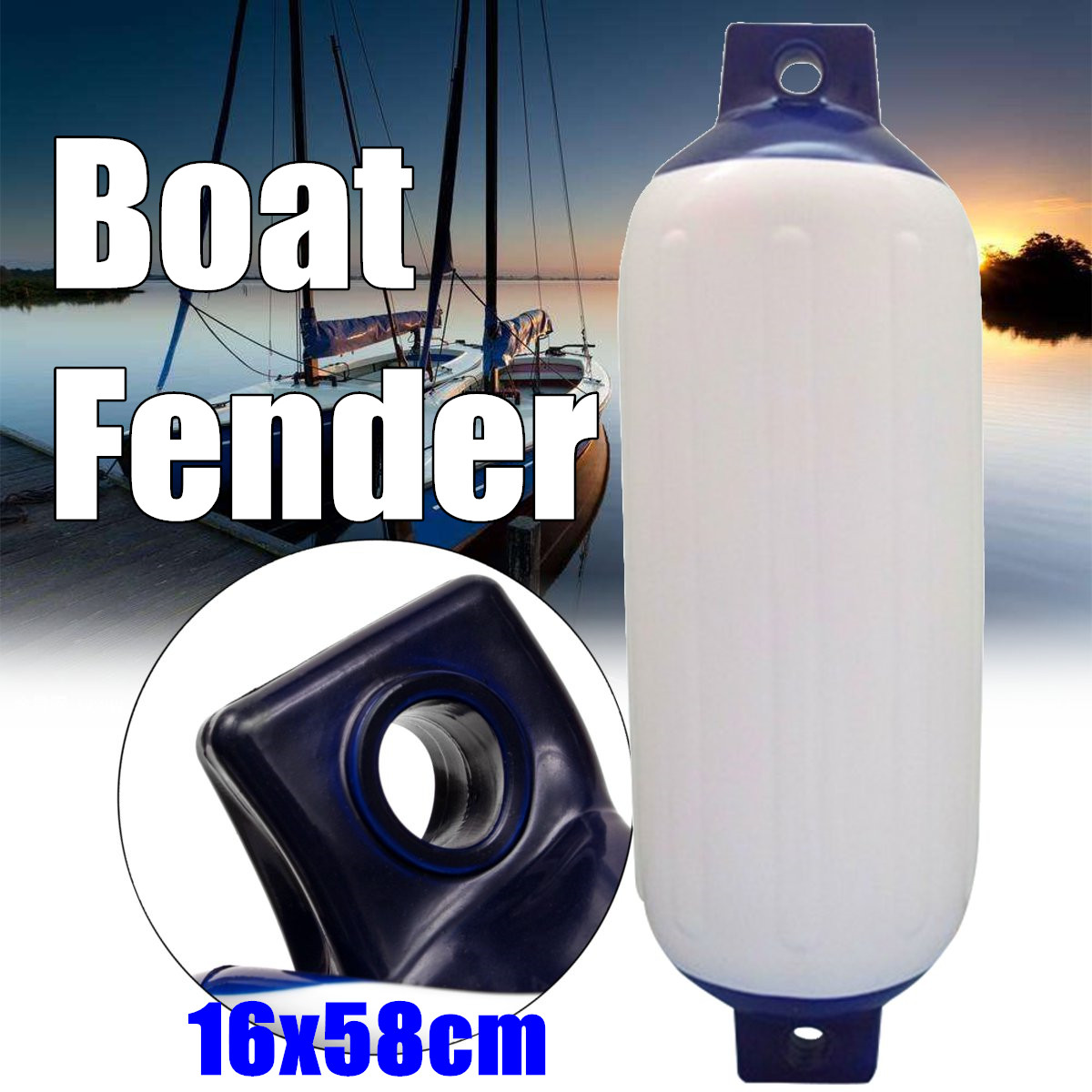 58x16cm Protected Inflatable Boat Fenders Suitable For Small Boats Useful Buffers PVC Anti-collision Ball Mounted Horizontally